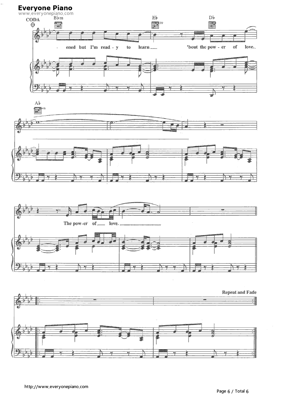 The power of love celine dion free piano sheet music piano chords the power of love celine dion stave preview 6 hexwebz Images