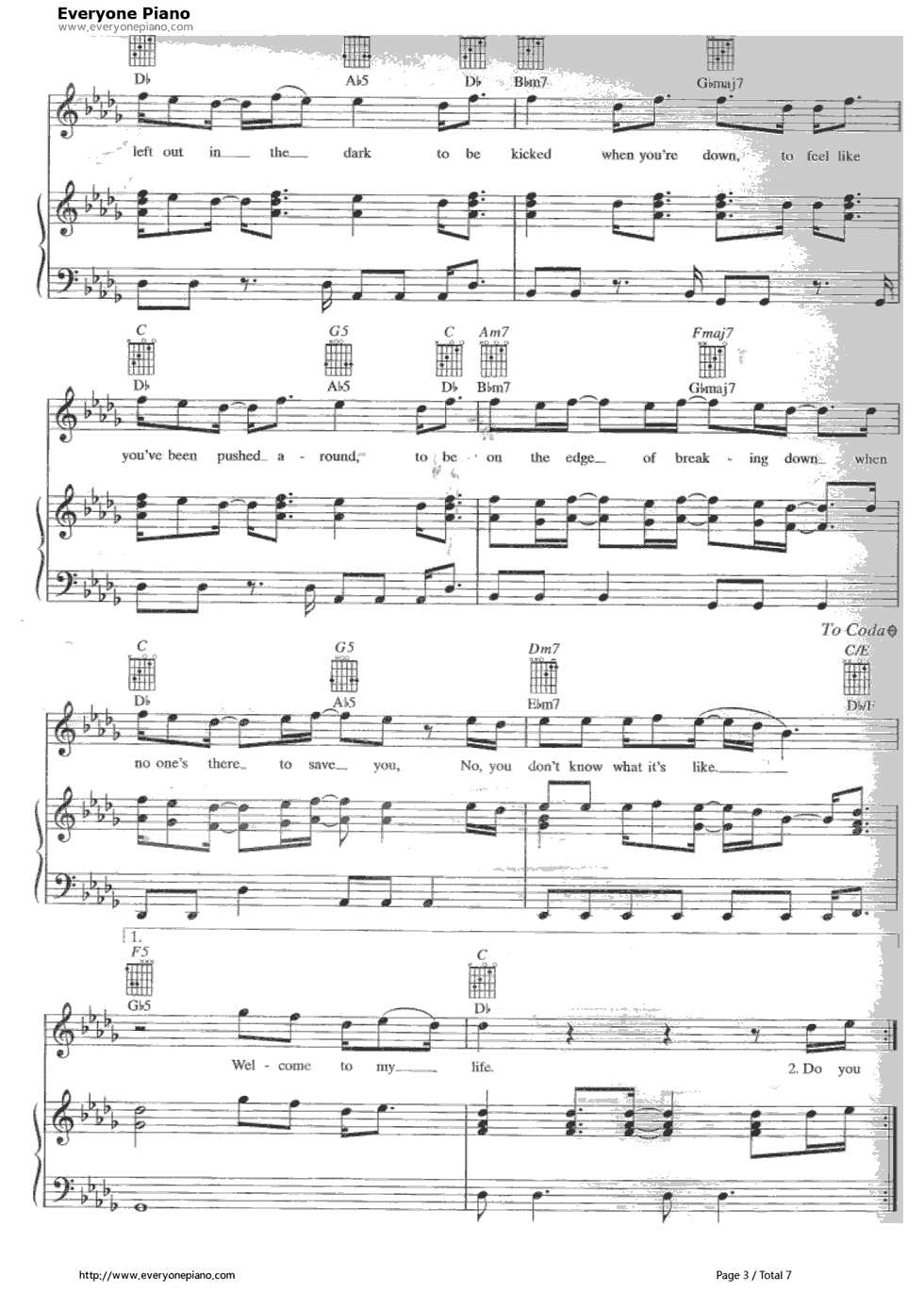 Welcome to my life simple plan stave preview 3 free piano sheet listen now print sheet welcome to my life simple plan stave preview 3 hexwebz Image collections