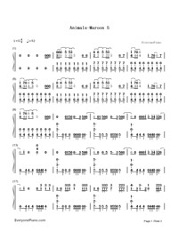 Animals-Maroon 5-Numbered-Musical-Notation-Preview-1