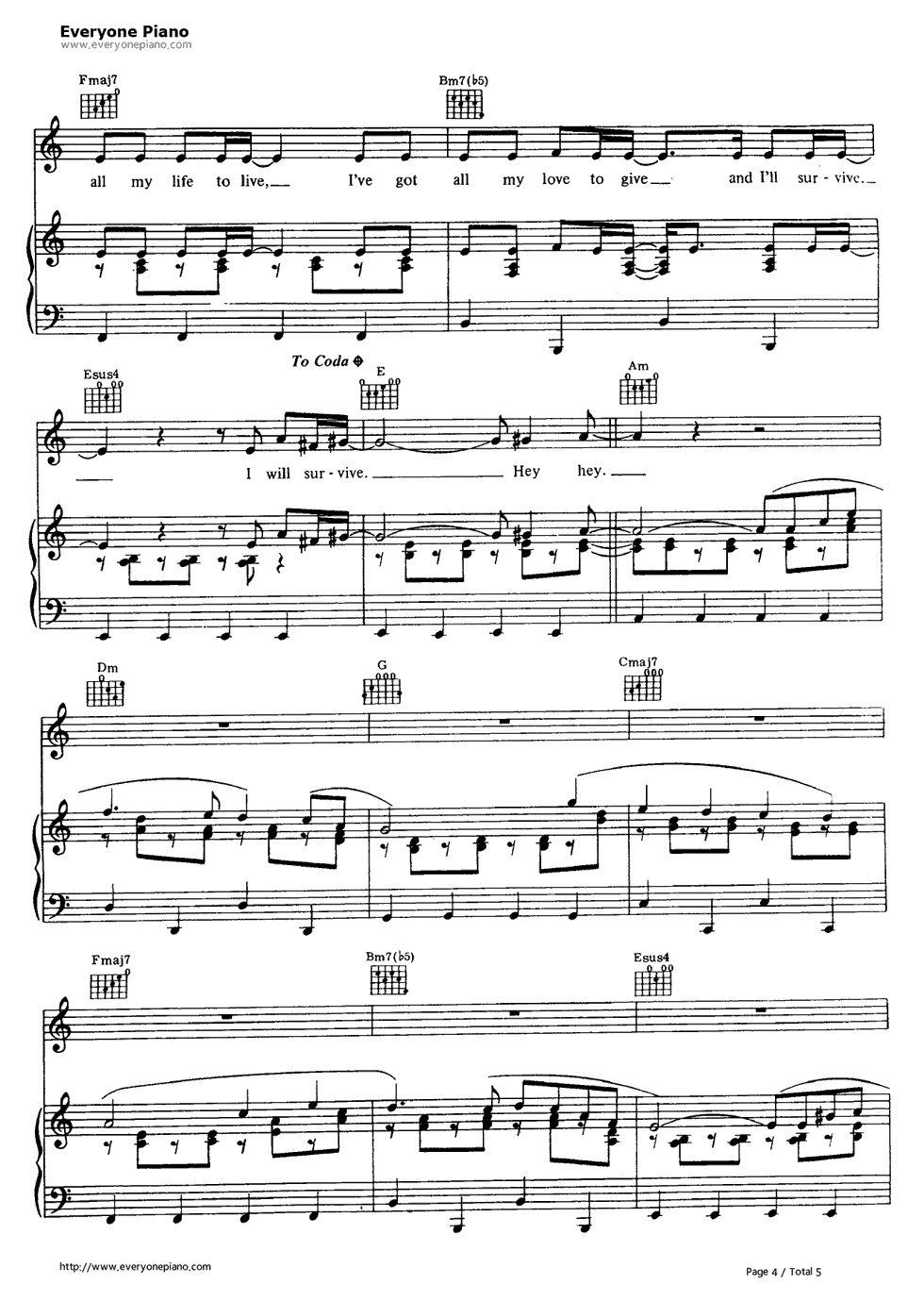 I will survive gloria gaynor stave preview 4 free piano sheet listen now print sheet i will survive gloria gaynor stave preview 4 hexwebz Images