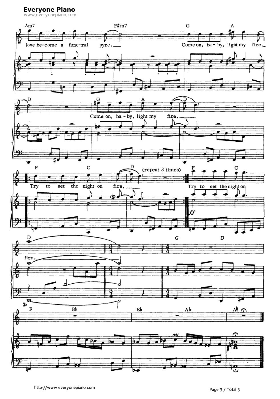 Light My Fire The Doors Stave Preview 3 Free Piano Sheet