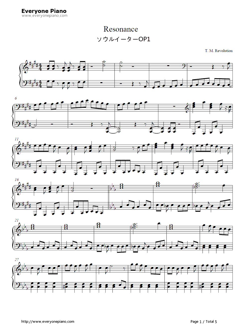 Resonance-SOUL EATER OP1 Stave Preview 1-Free Piano Sheet Music u0026 Piano Chords