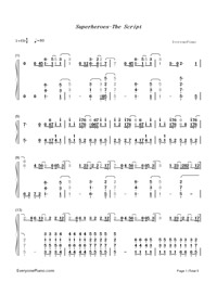 Superheroes-The Script-Numbered-Musical-Notation-Preview-1