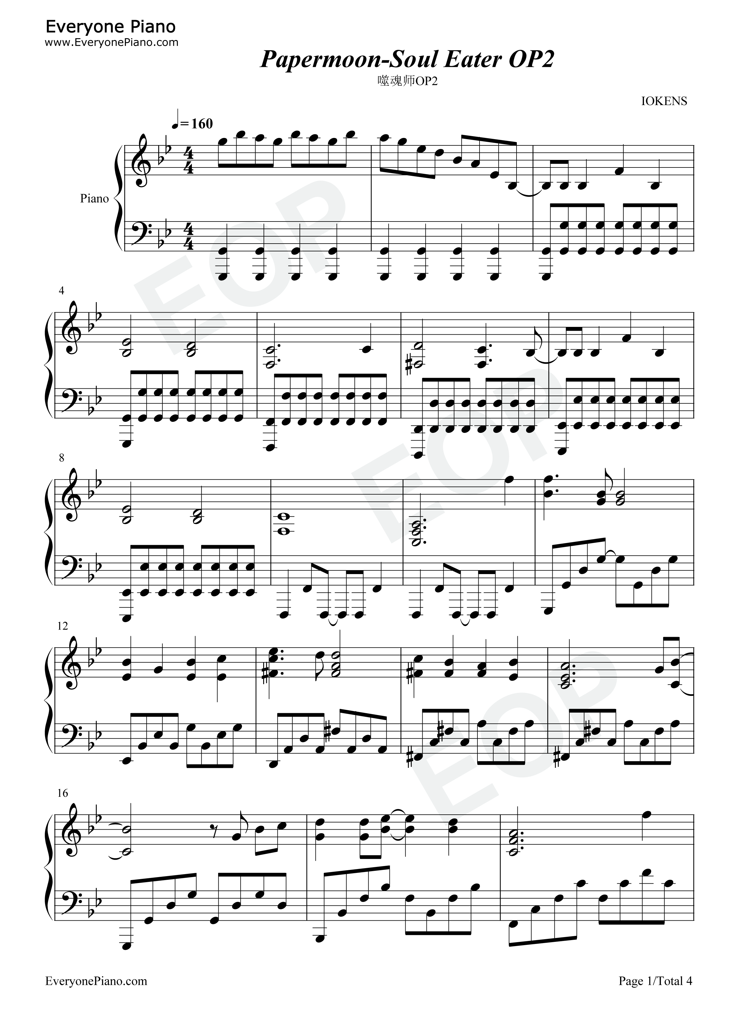 Papermoon-Soul Eater OP2 Stave Preview 1-Free Piano Sheet Music u0026 Piano Chords