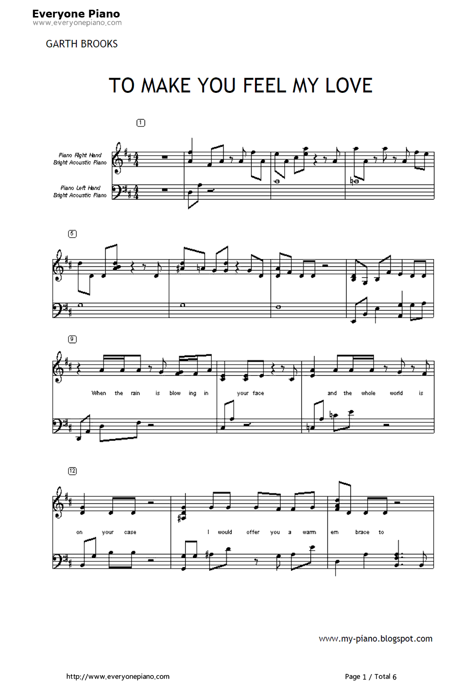 To Make You Feel My Love-Garth Brooks Stave Preview 1-Free Piano Sheet Music u0026 Piano Chords