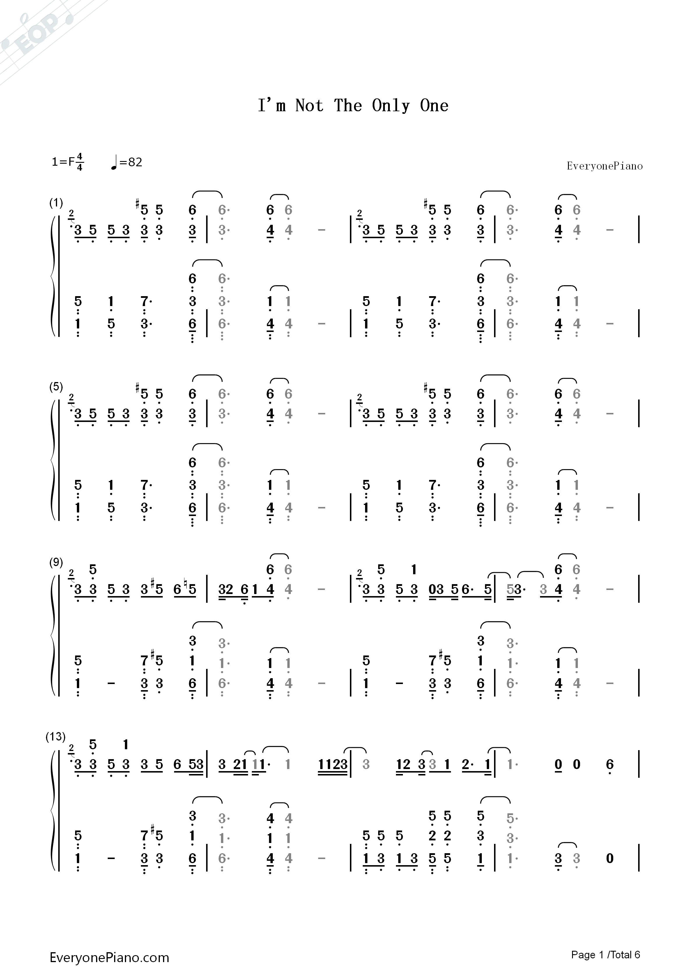 I'm Not the Only One-Sam Smith Numbered Musical Notation Preview 1