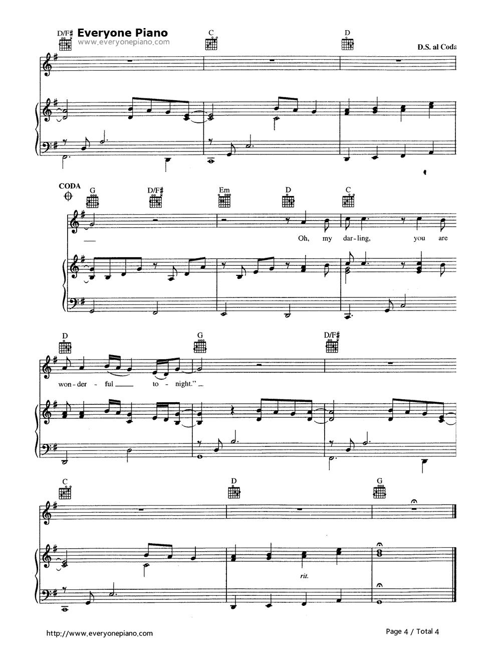 Wonderful Tonight Eric Clapton Free Piano Sheet Music Piano Chords