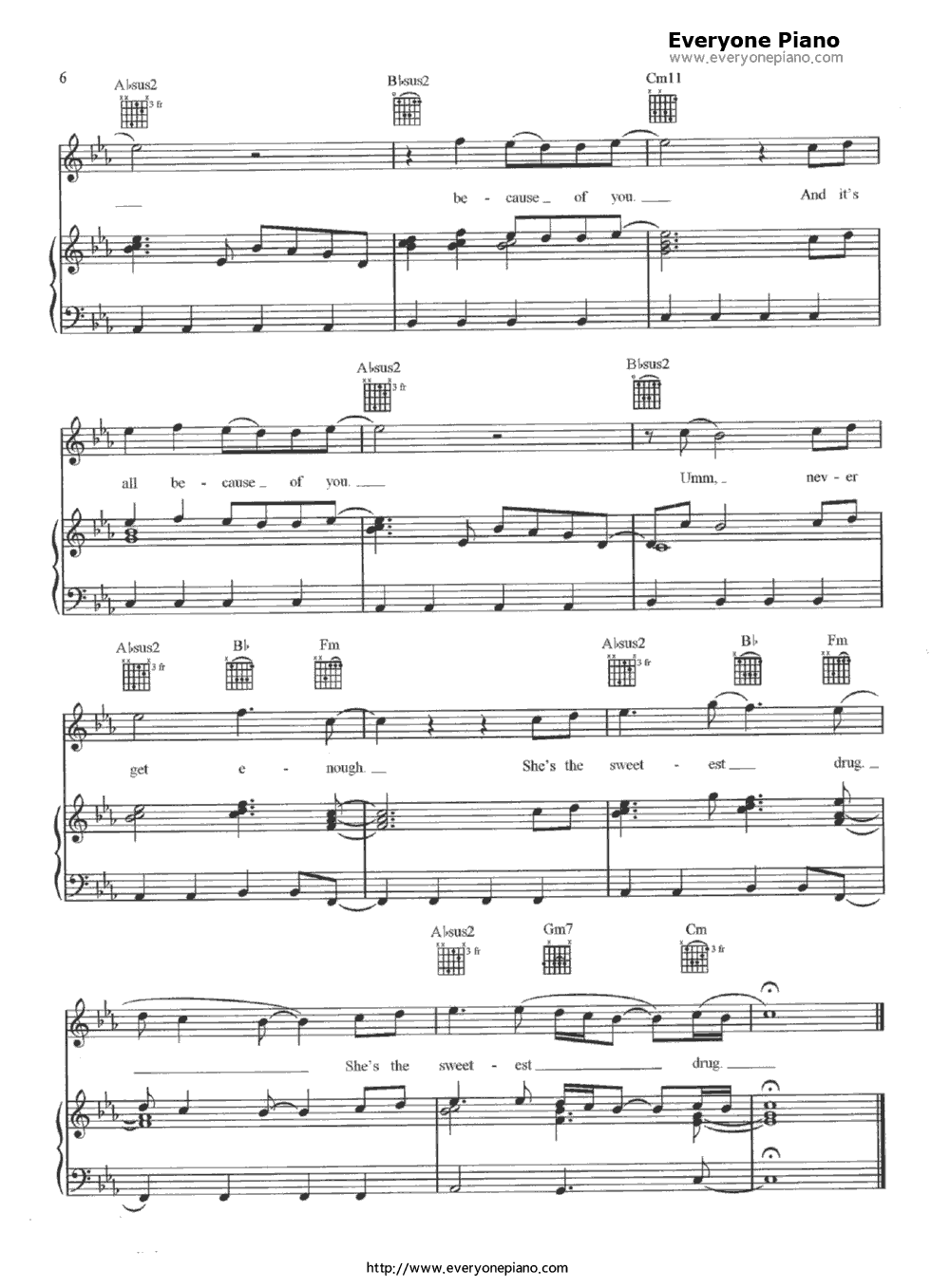 Because of you ne yo stave preview 6 free piano sheet music listen now print sheet because of you ne yo stave preview 6 hexwebz Choice Image
