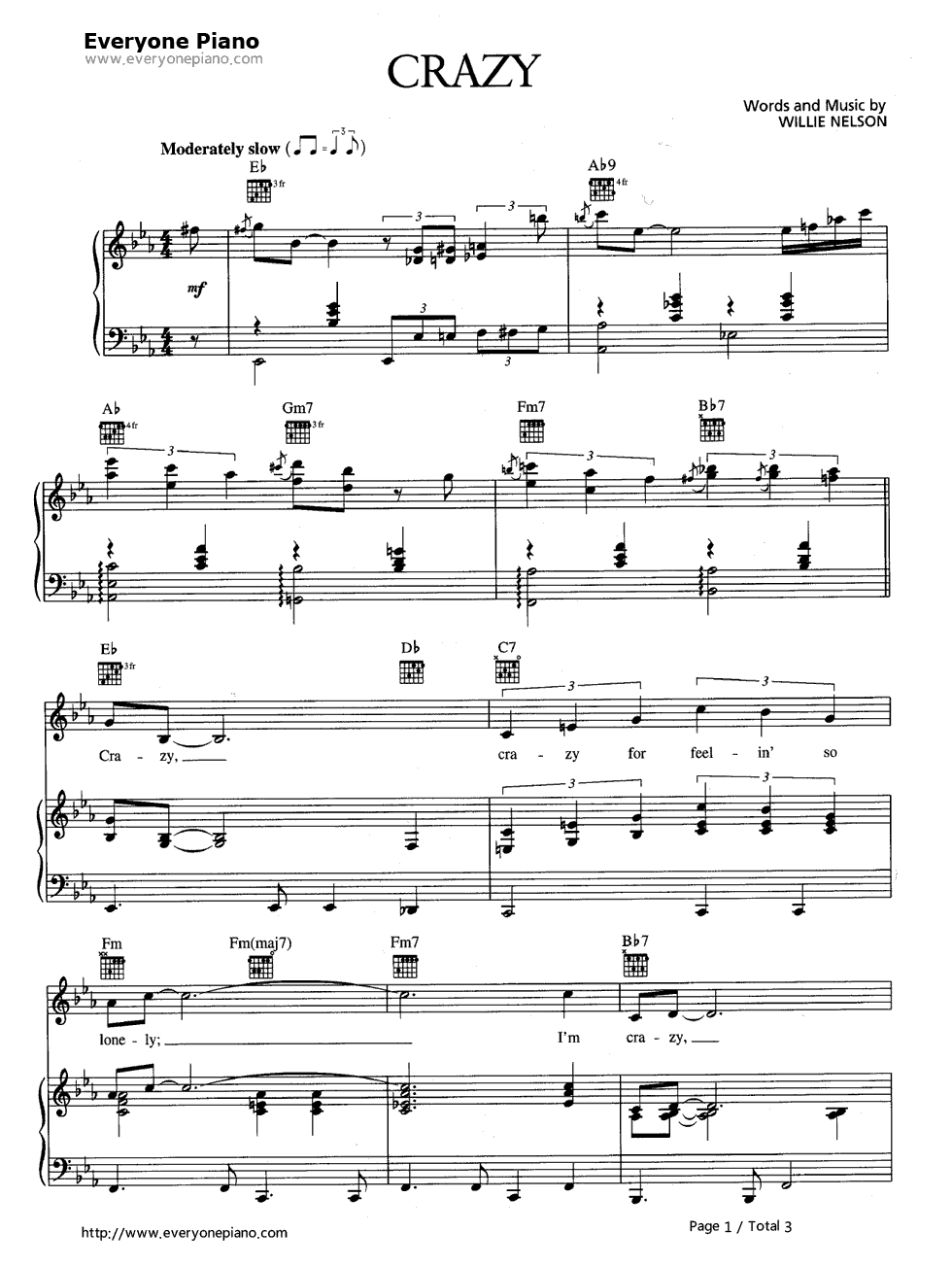 Crazy patsy cline stave preview 1 free piano sheet music piano listen now print sheet crazy patsy cline stave preview 1 hexwebz Image collections