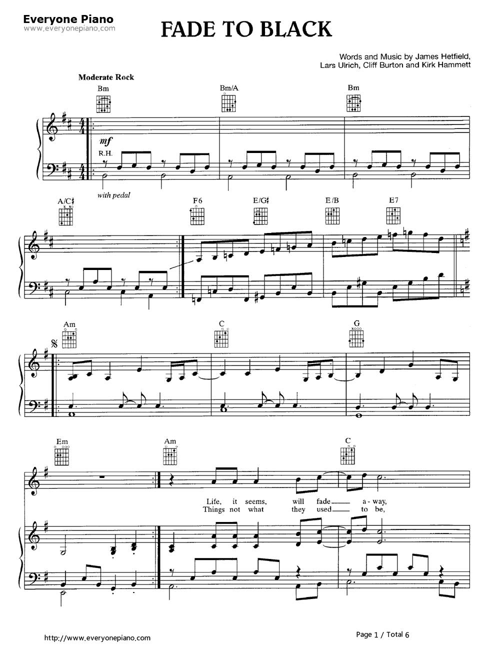Fade to black metallica stave preview 1 free piano sheet music listen now print sheet fade to black metallica stave preview 1 hexwebz Image collections