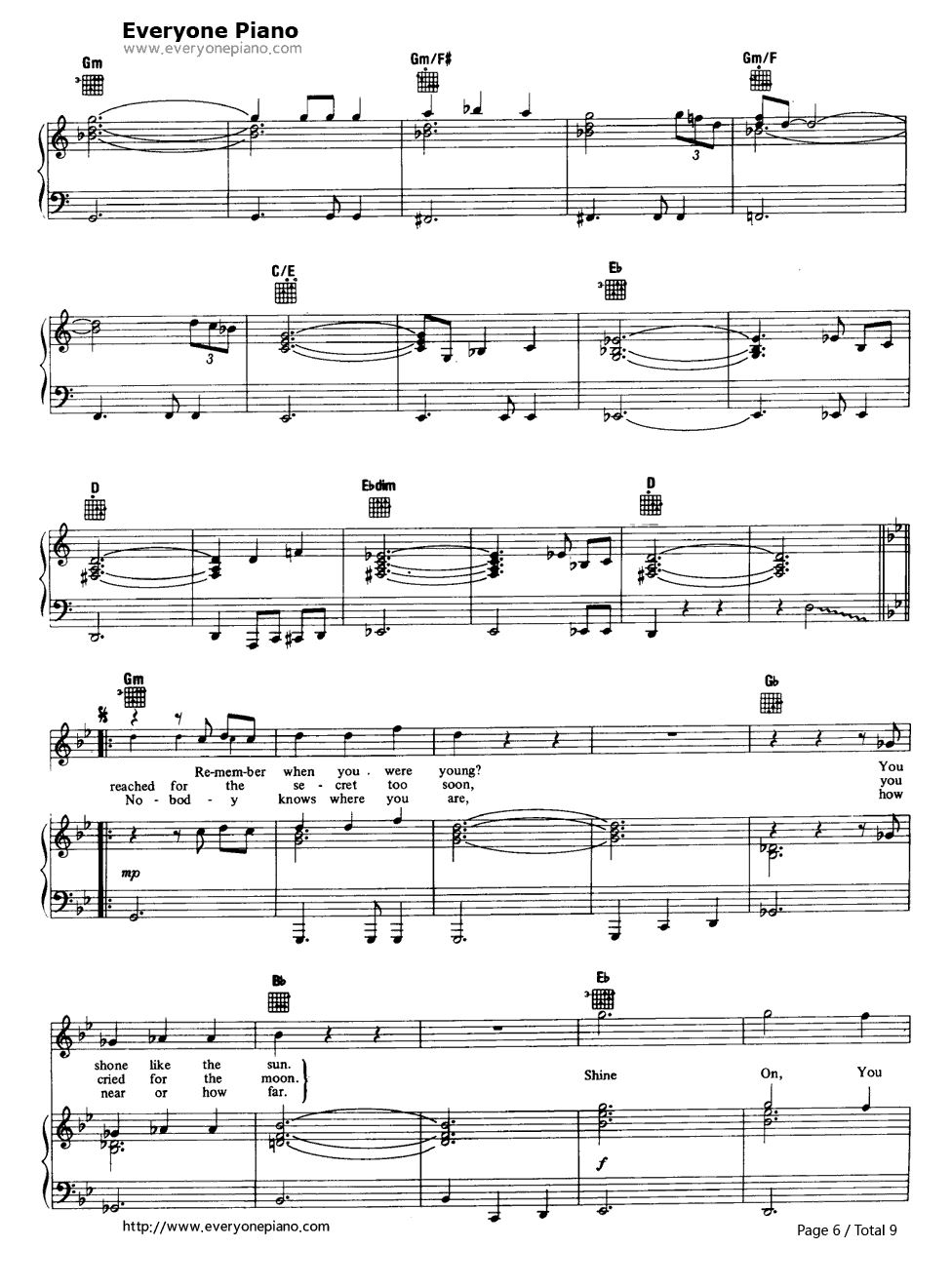 shine on you crazy diamond pink floyd stave preview 6 free piano sheet music piano chords. Black Bedroom Furniture Sets. Home Design Ideas
