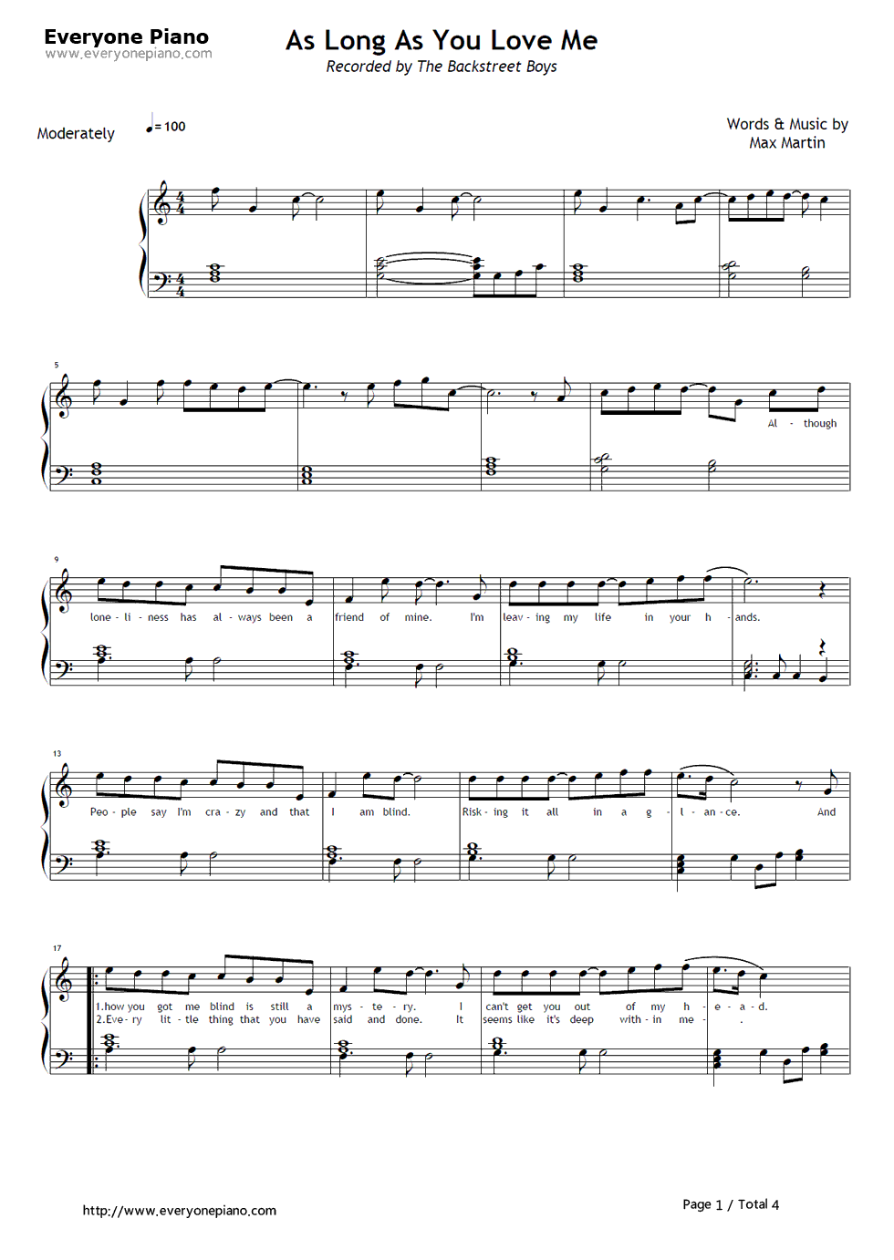 as long as you love me piano sheet music free