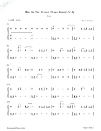 Man On The Street Plays Beautifully-Ryan-Numbered-Musical-Notation-Preview-1