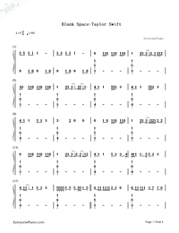 Blank Space-Taylor Swift-Numbered-Musical-Notation-Preview-1