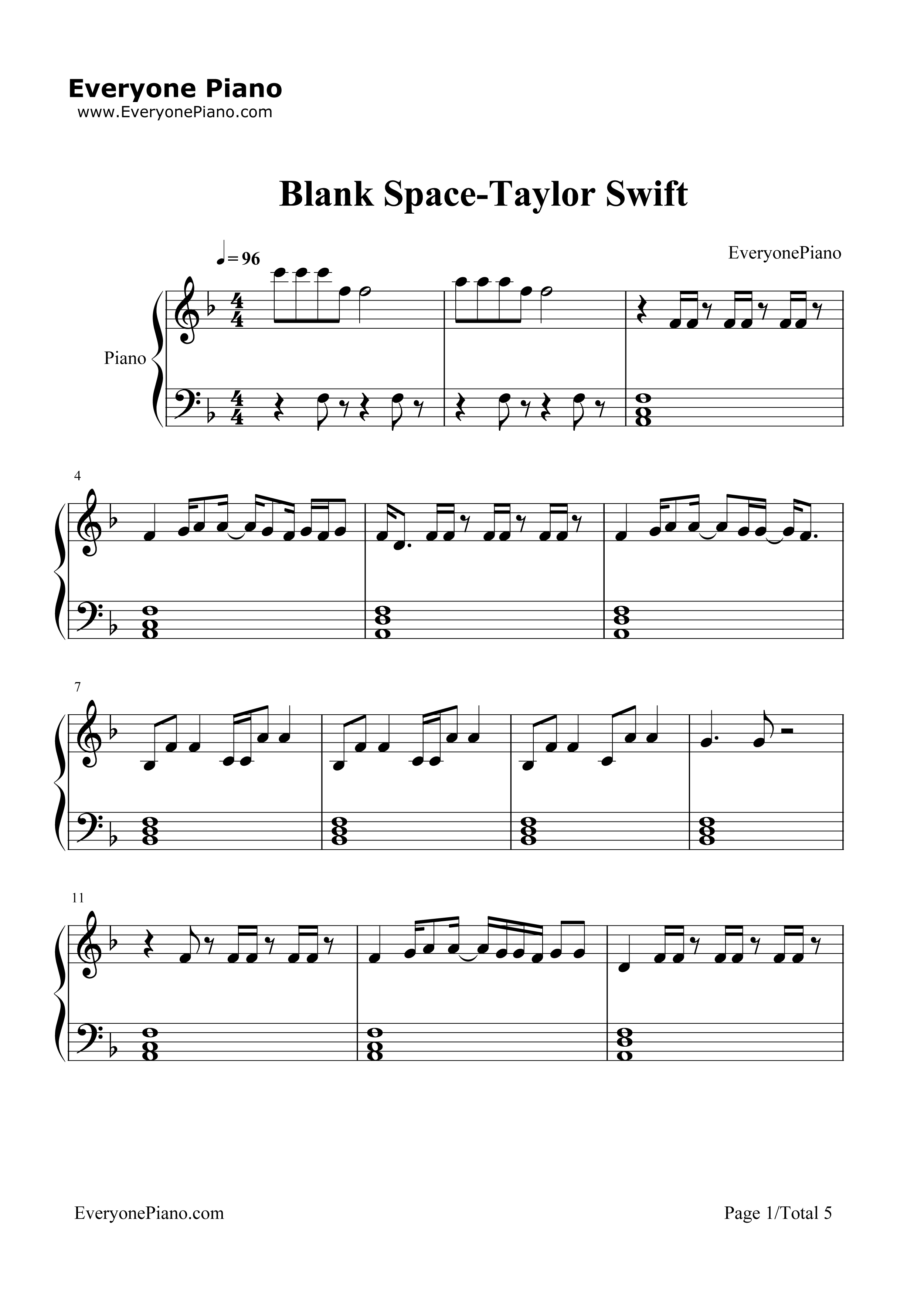 Blank space taylor swift stave preview 1 free piano sheet music