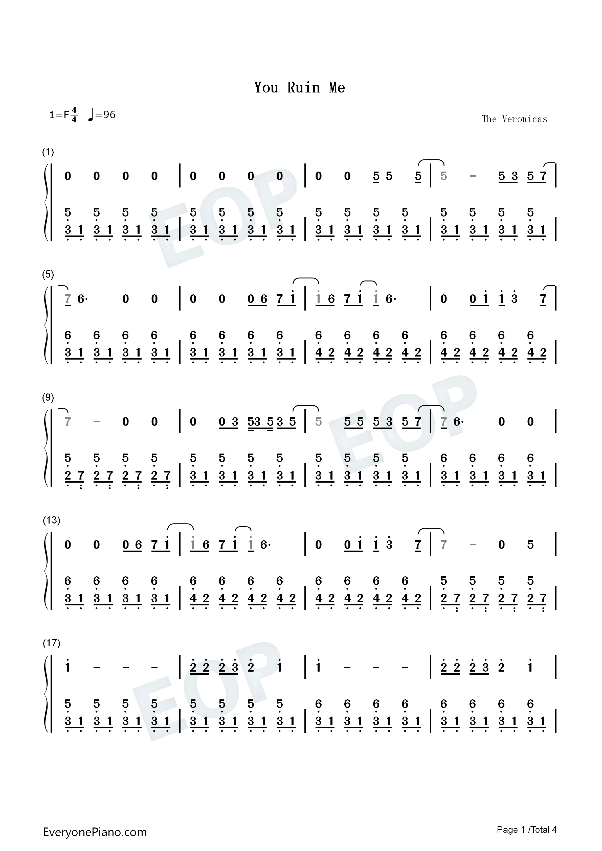 You Ruin Me-The Veronicas Numbered Musical Notation Preview