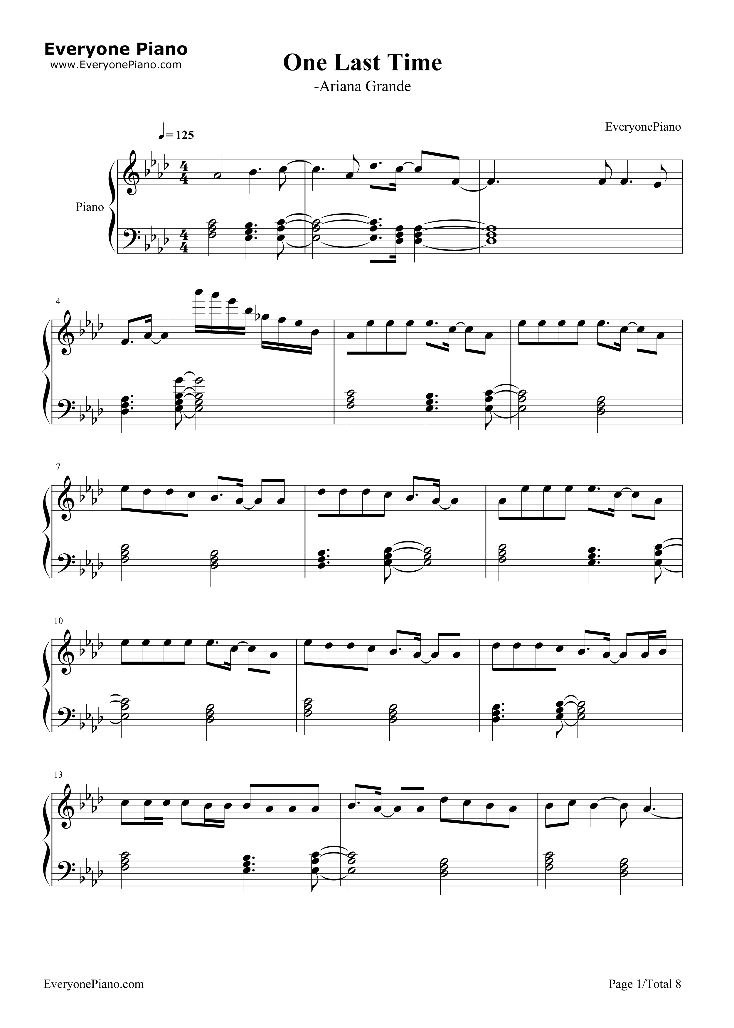 One last time ariana grande stave preview 1 free piano sheet listen now print sheet one last time ariana grande stave preview 1 hexwebz Image collections