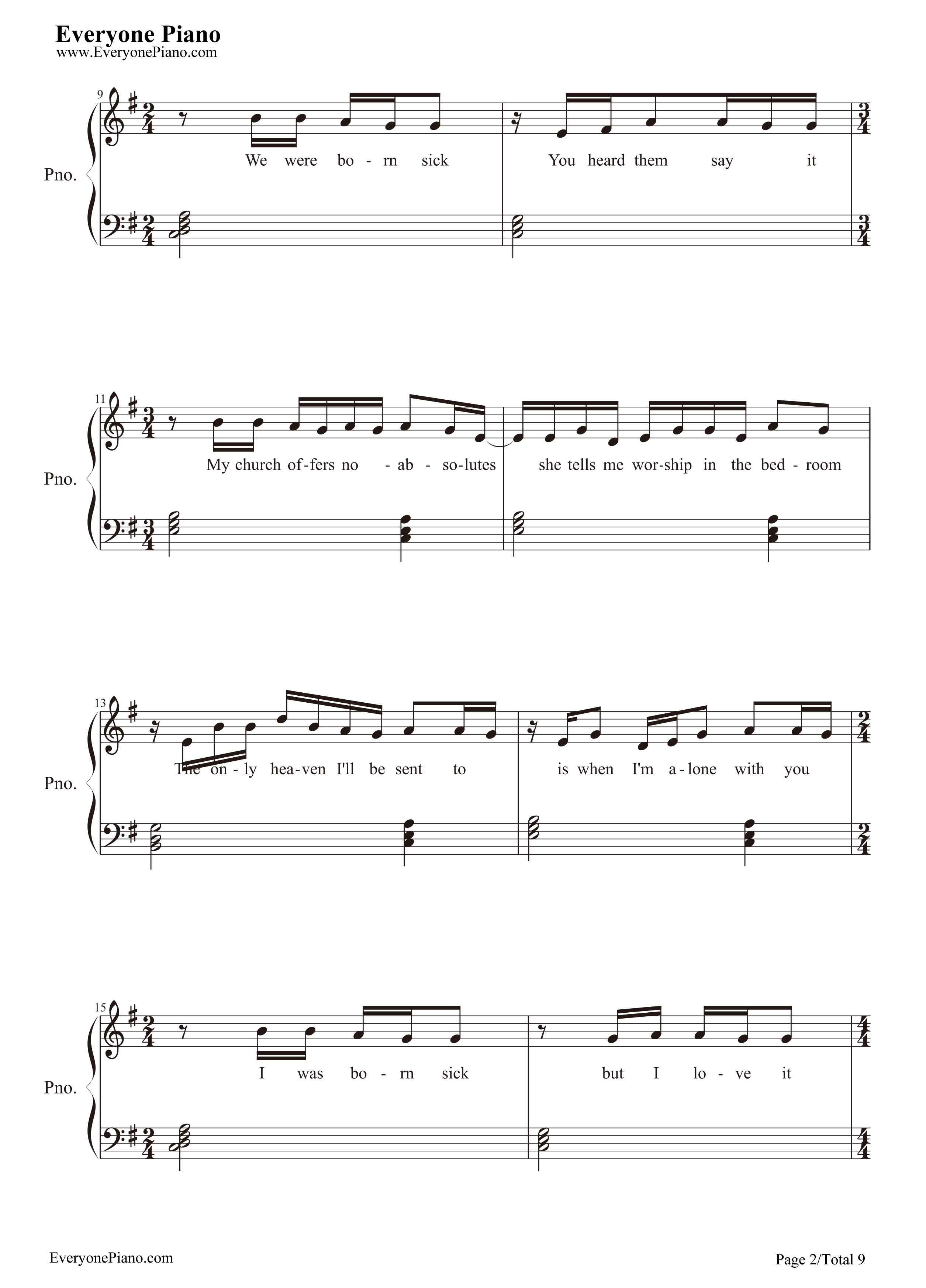 Take me to church hozier stave preview 2 free piano sheet music