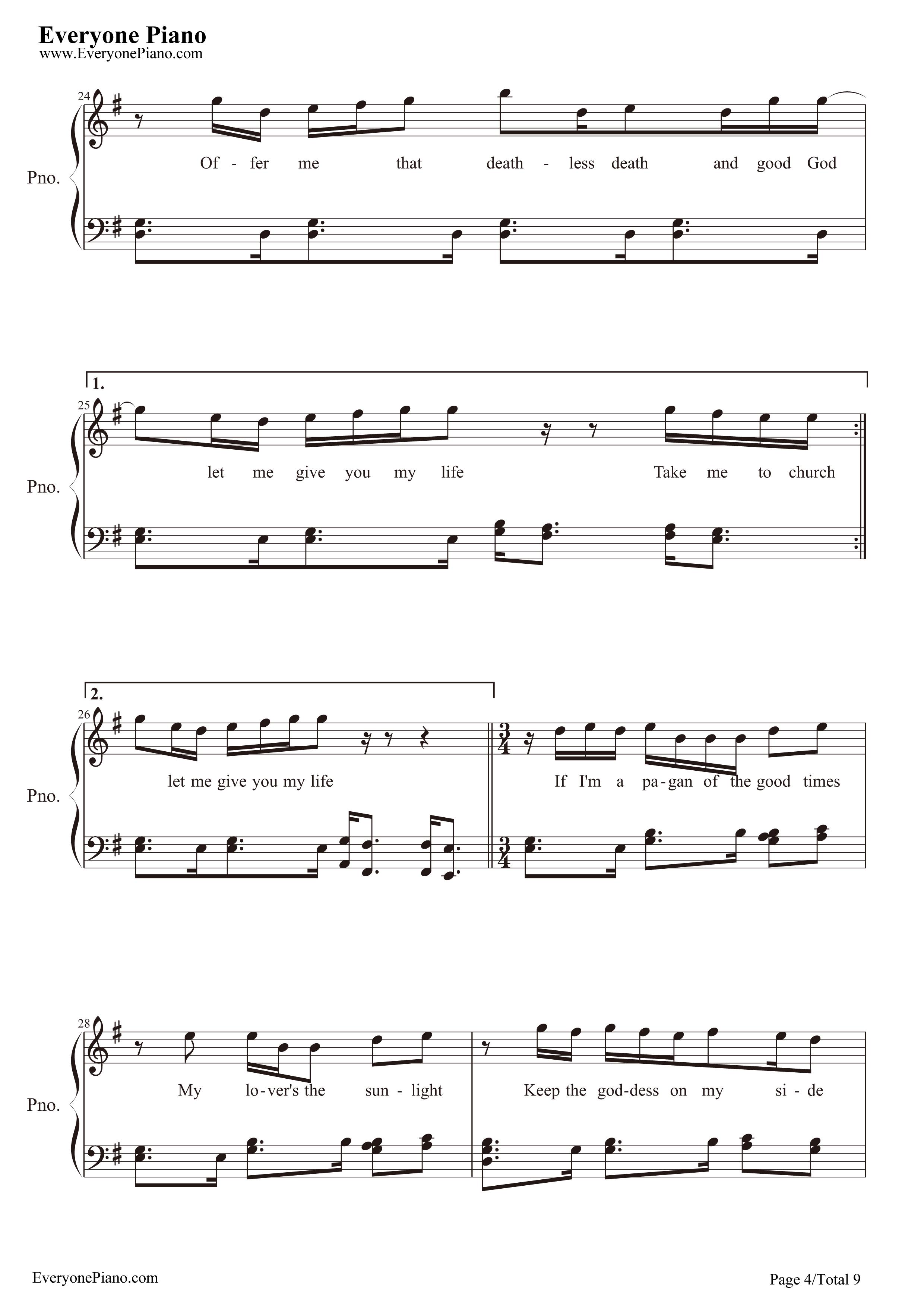 Free piano sheet music take me to church