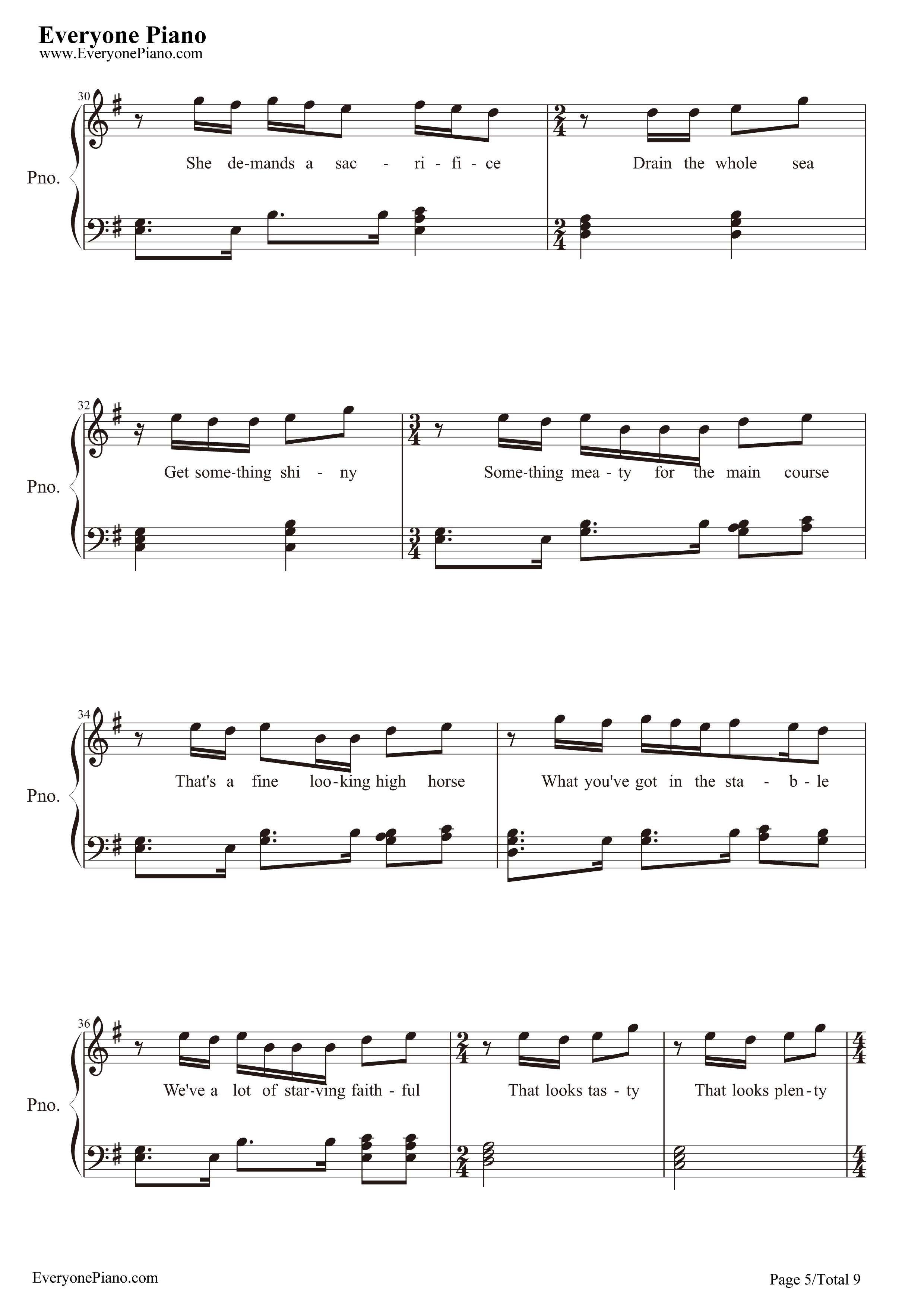 Take Me to Church-Hozier Stave Preview 5-Free Piano Sheet Music u0026 Piano Chords