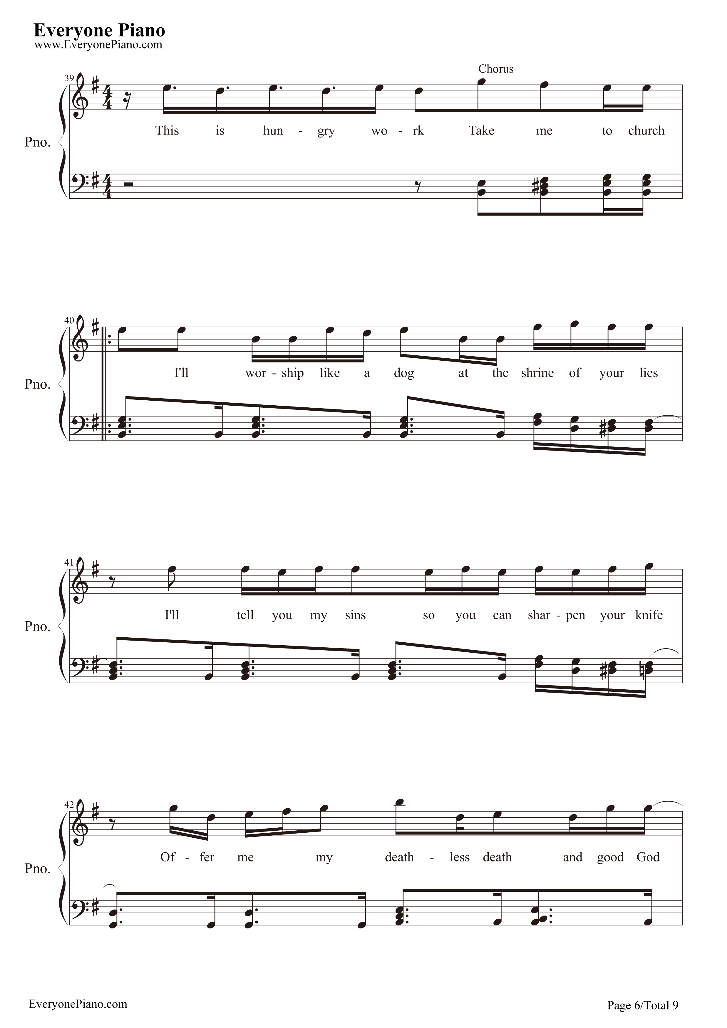 Take Me to Church-Hozier Stave Preview 6-Free Piano Sheet Music u0026 Piano Chords