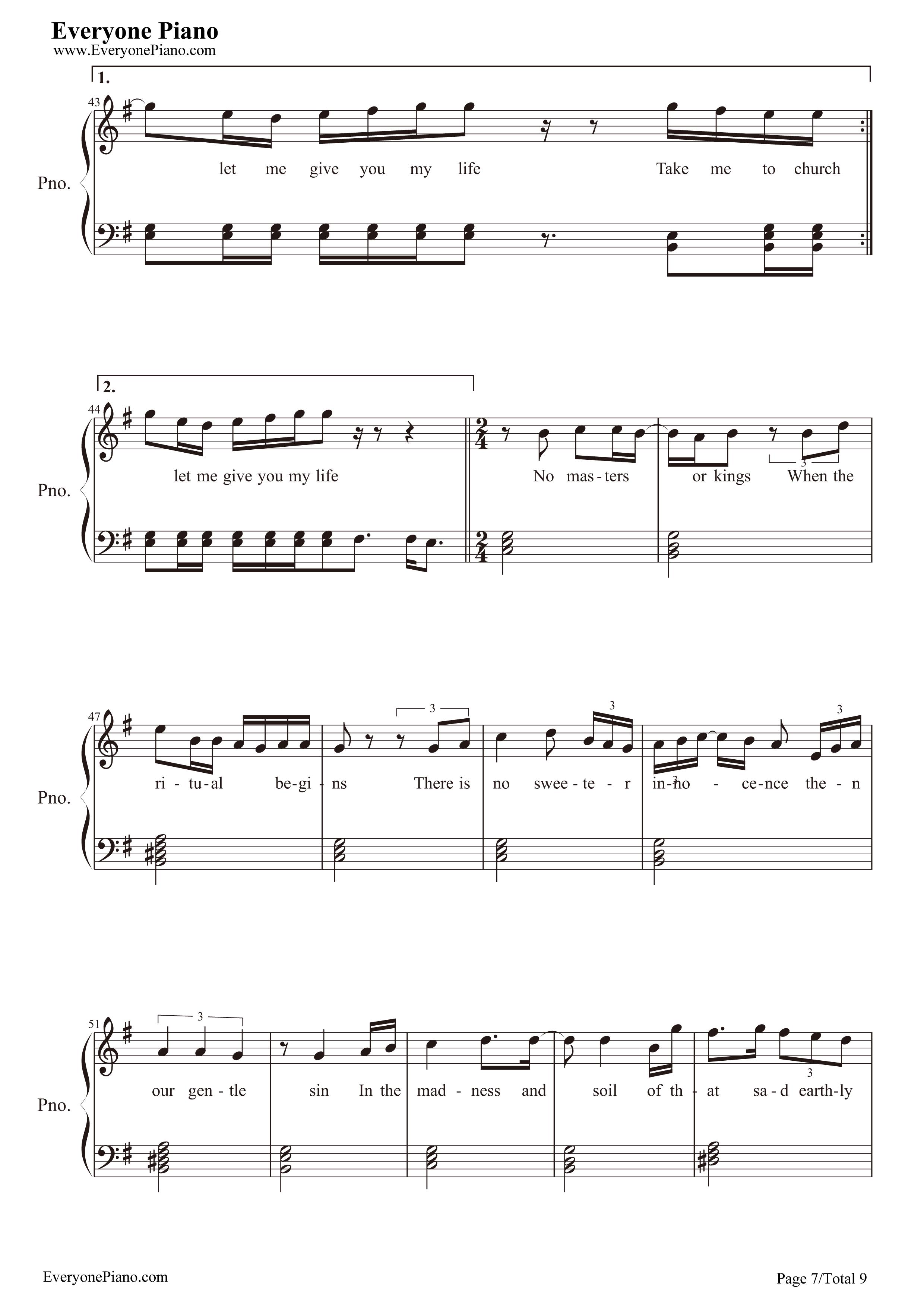 Piano sheet music take me to church car tuning