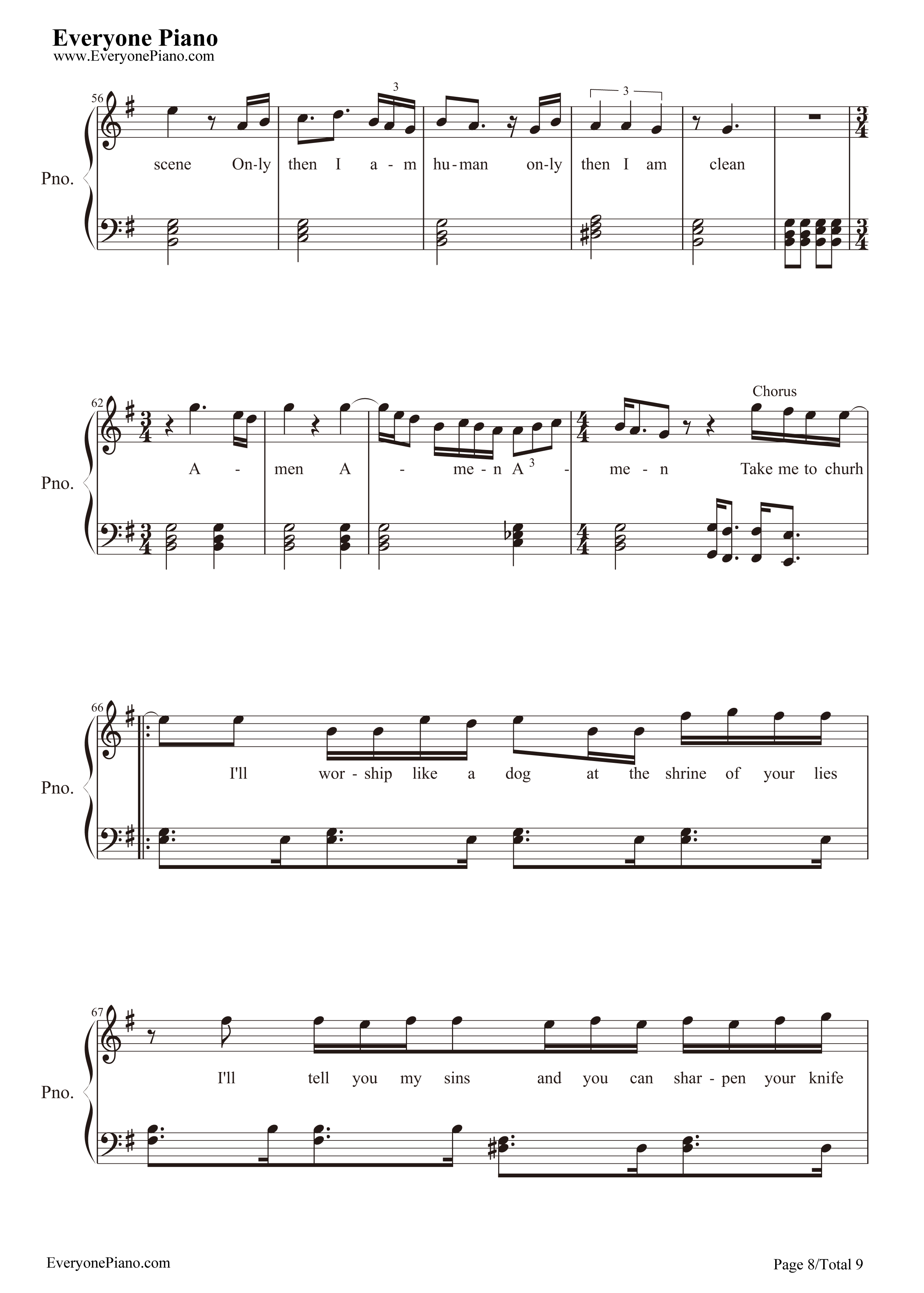 Take Me to Church-Hozier Stave Preview 8-Free Piano Sheet Music u0026 Piano Chords