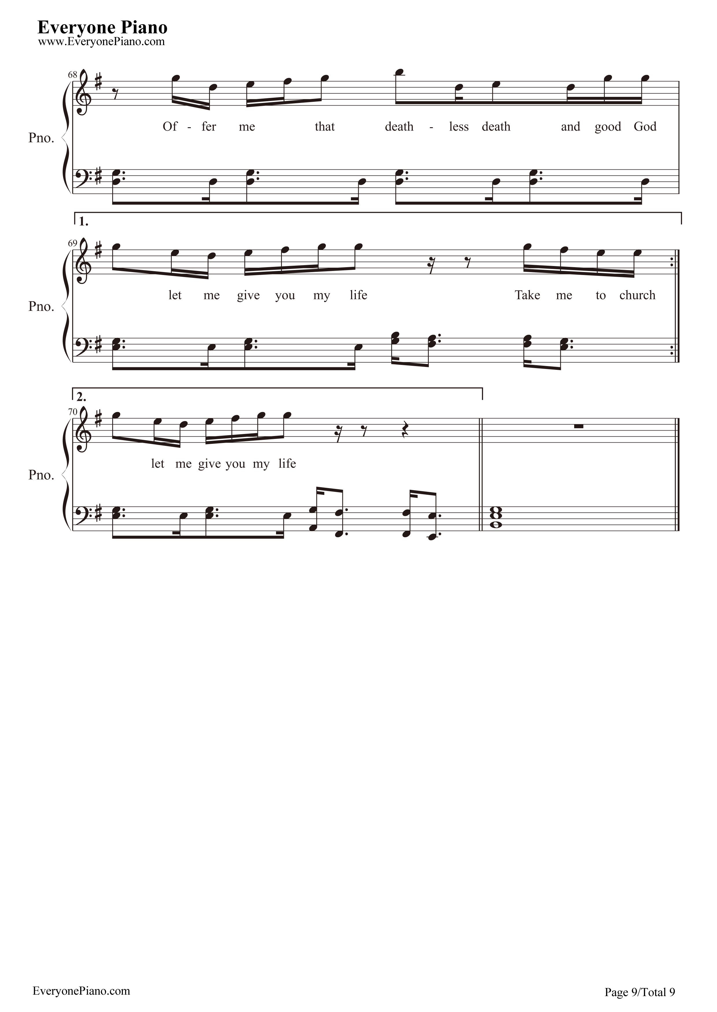 Take Me to Church-Hozier Stave Preview 9-Free Piano Sheet Music u0026 Piano Chords