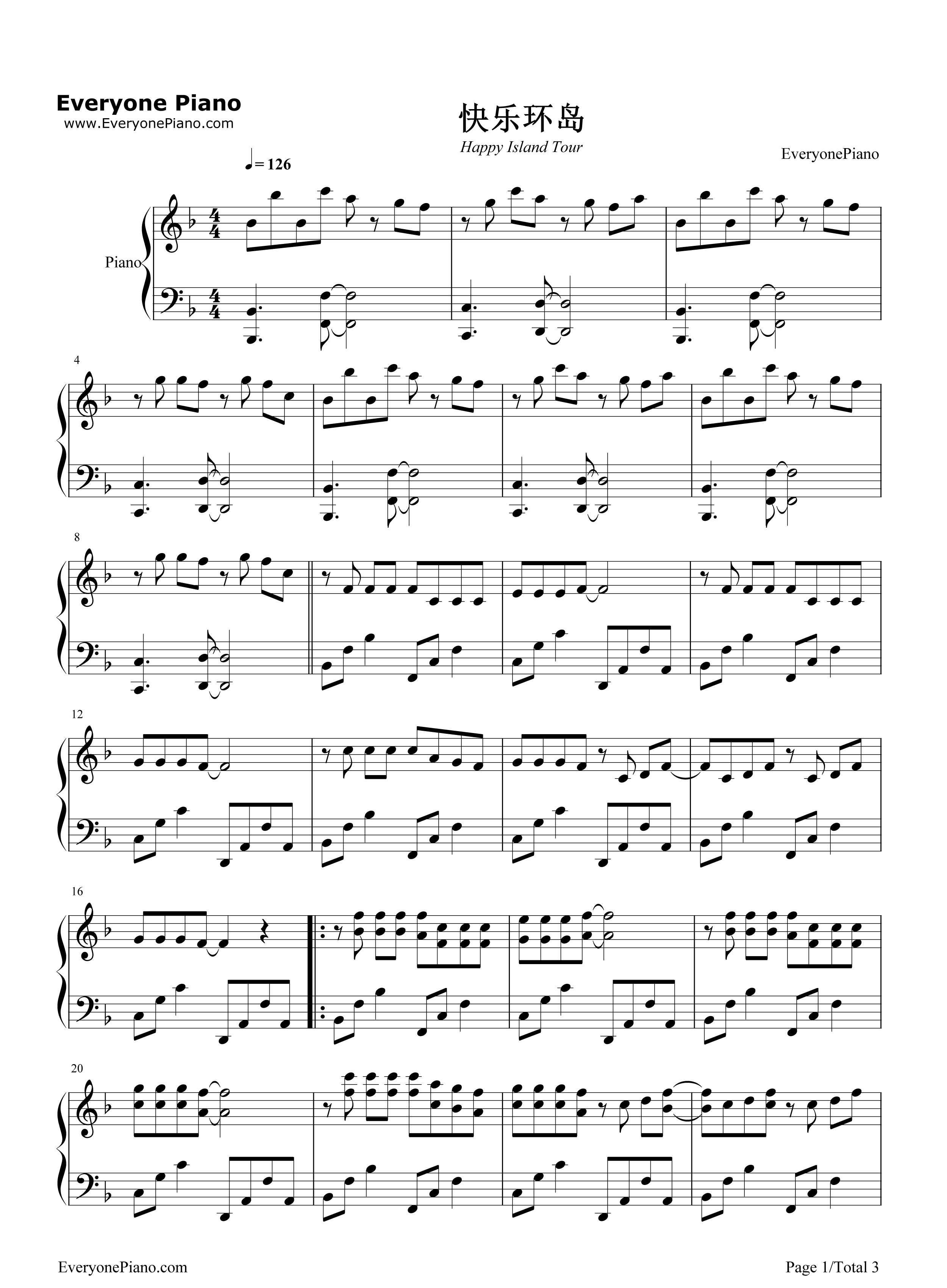 ... Tour-TFBOYS Stave Preview 1-Free Piano Sheet Music & Piano Chords