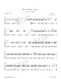 River Flows In You-Standard Edition Numbered Musical Notation Preview 1