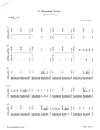 A Thousand Years-The Twilight Saga Breaking Dawn OST Numbered Musical Notation Preview 1