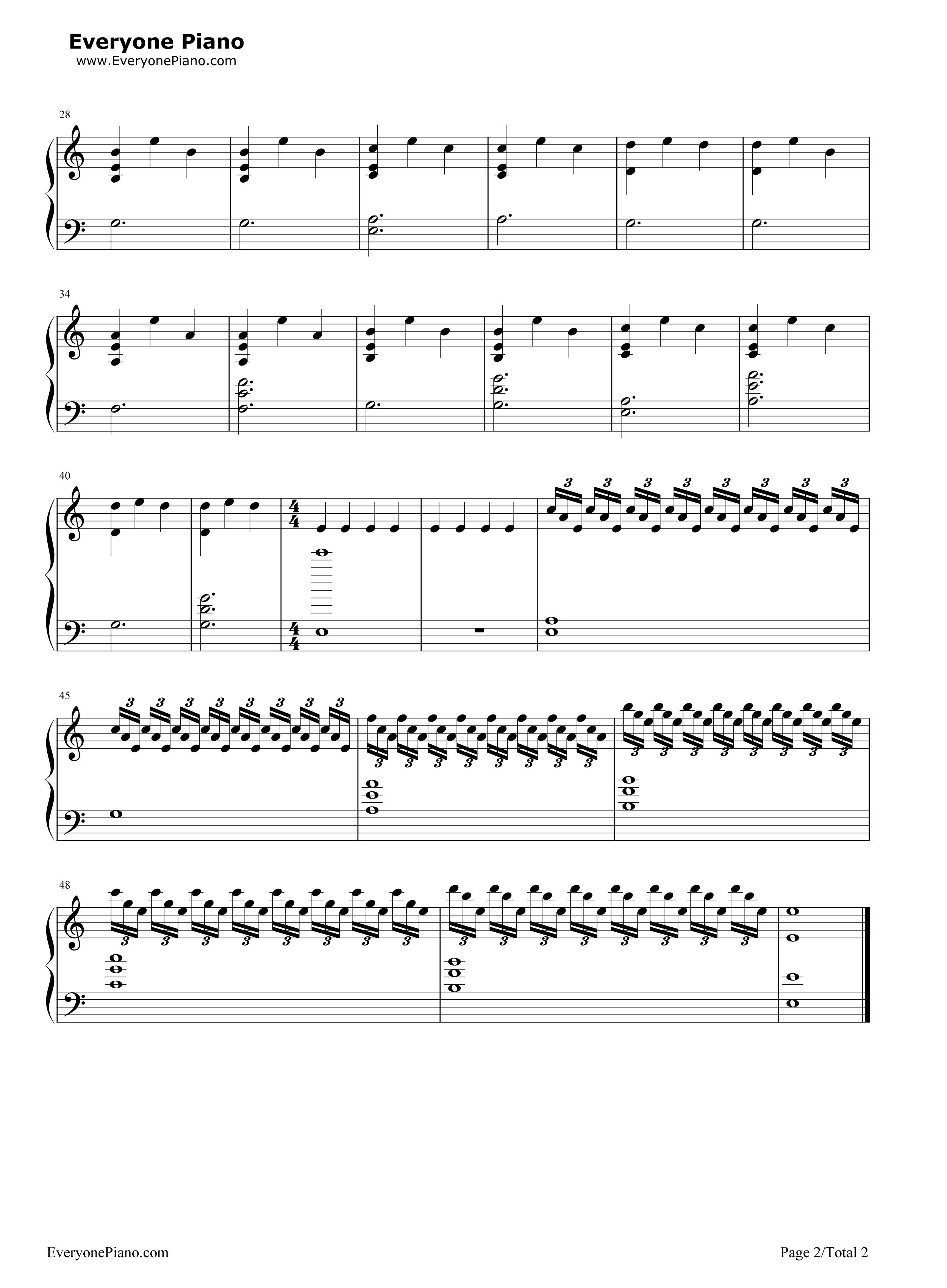 Célèbre Interstellar Main Theme Stave Preview 2- Free Piano Sheet Music  DH37