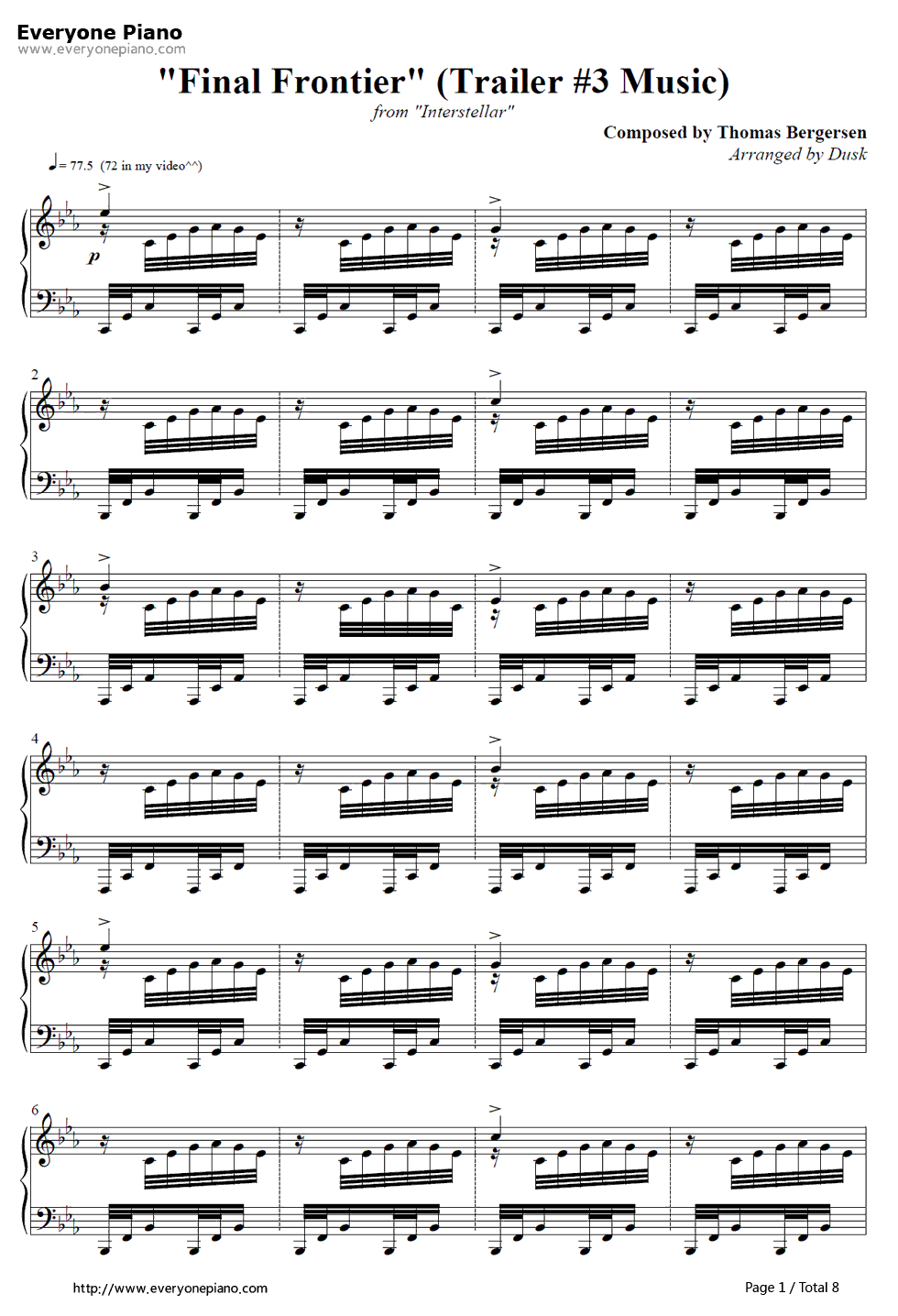 Assez Final Frontier-Interstellar OST Stave Preview 1- Free Piano Sheet  TV93