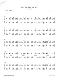 Just the Way You Are-Bruno Mars Numbered Musical Notation Preview 1