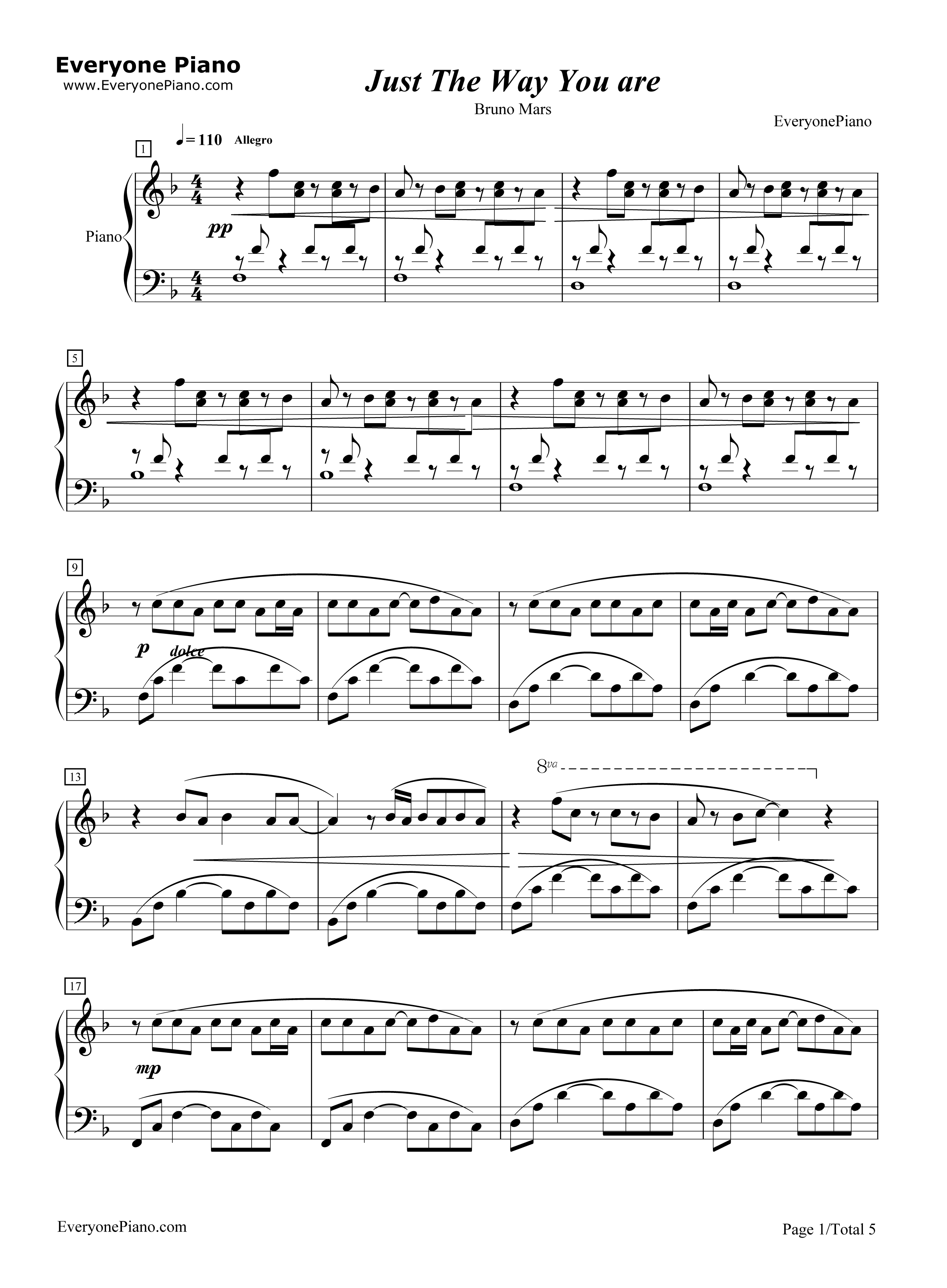 Just the Way You Are-Bruno Mars Stave Preview 1-Free Piano Sheet Music u0026 Piano Chords