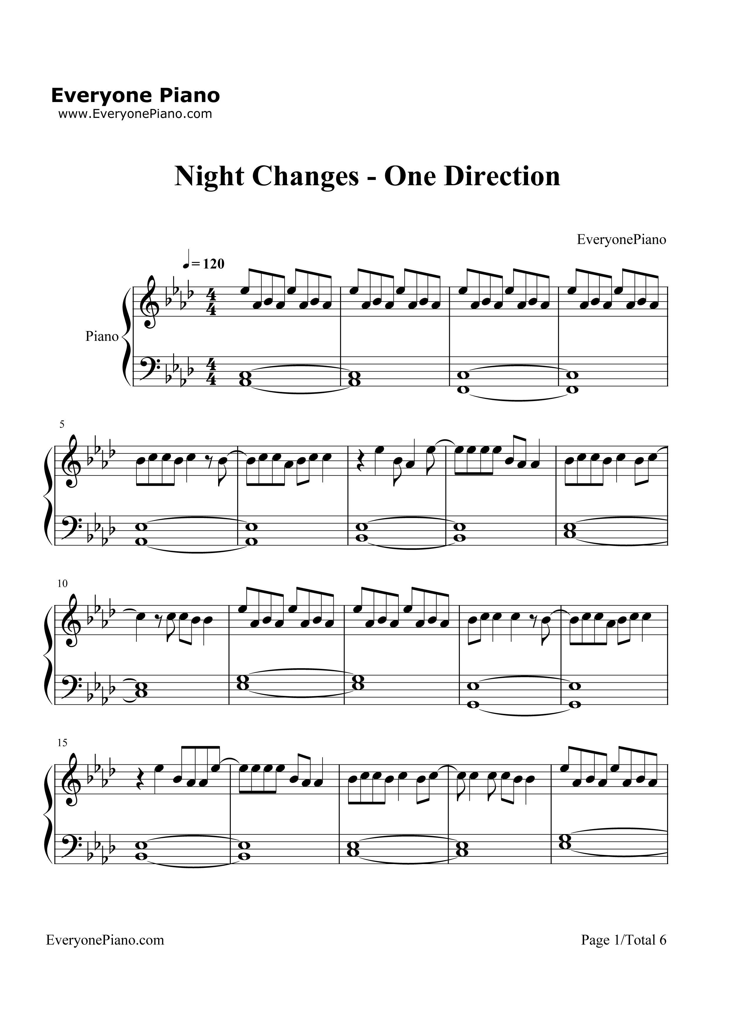 Night Changes-One Direction Stave Preview 1-Free Piano Sheet Music u0026 Piano Chords