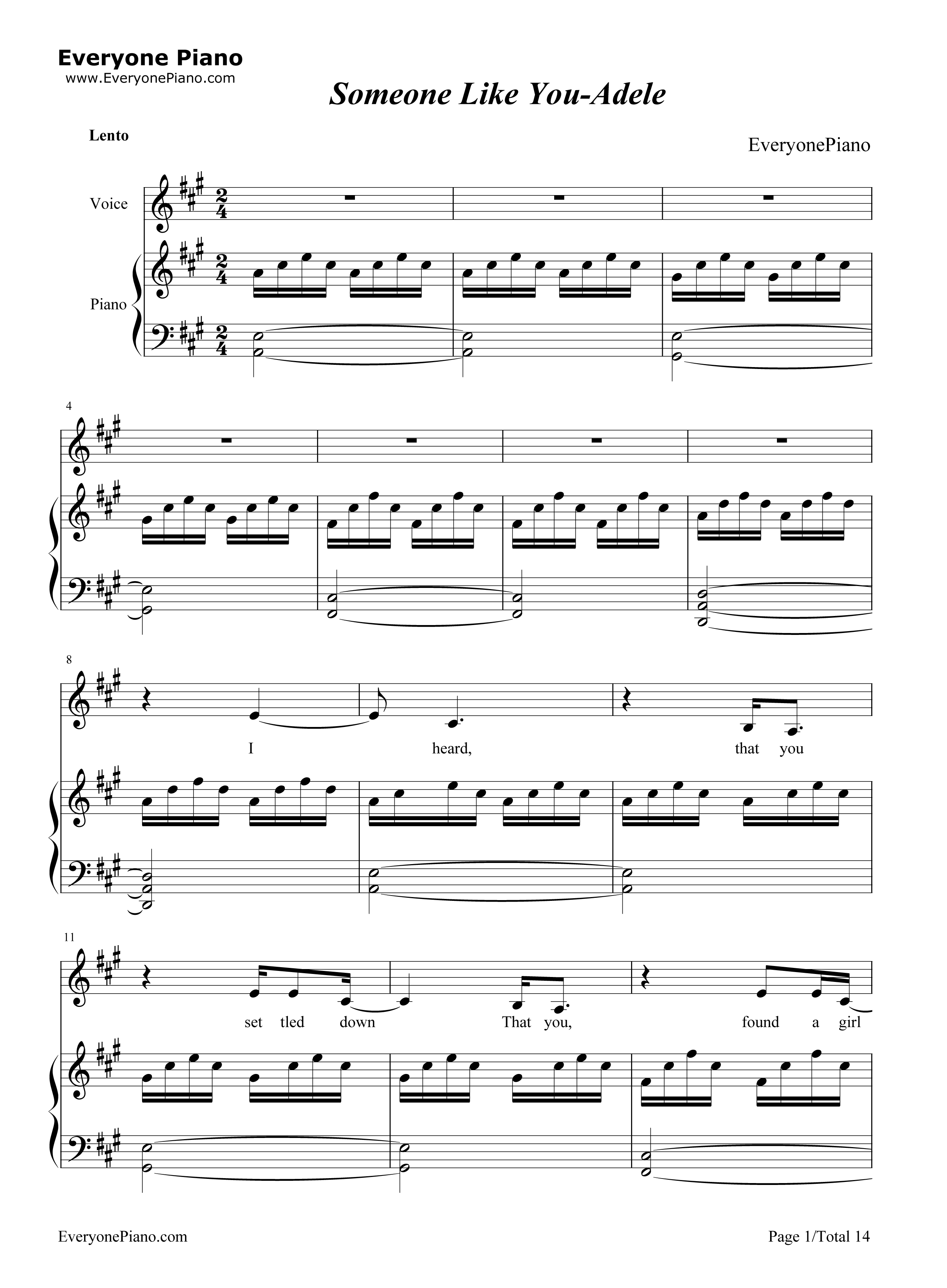 Someone like You Voice+Piano-Adele Stave Preview 1-Free Piano Sheet Music u0026 Piano Chords