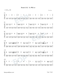 Beautiful in White-Westlife-Numbered-Musical-Notation-Preview-1