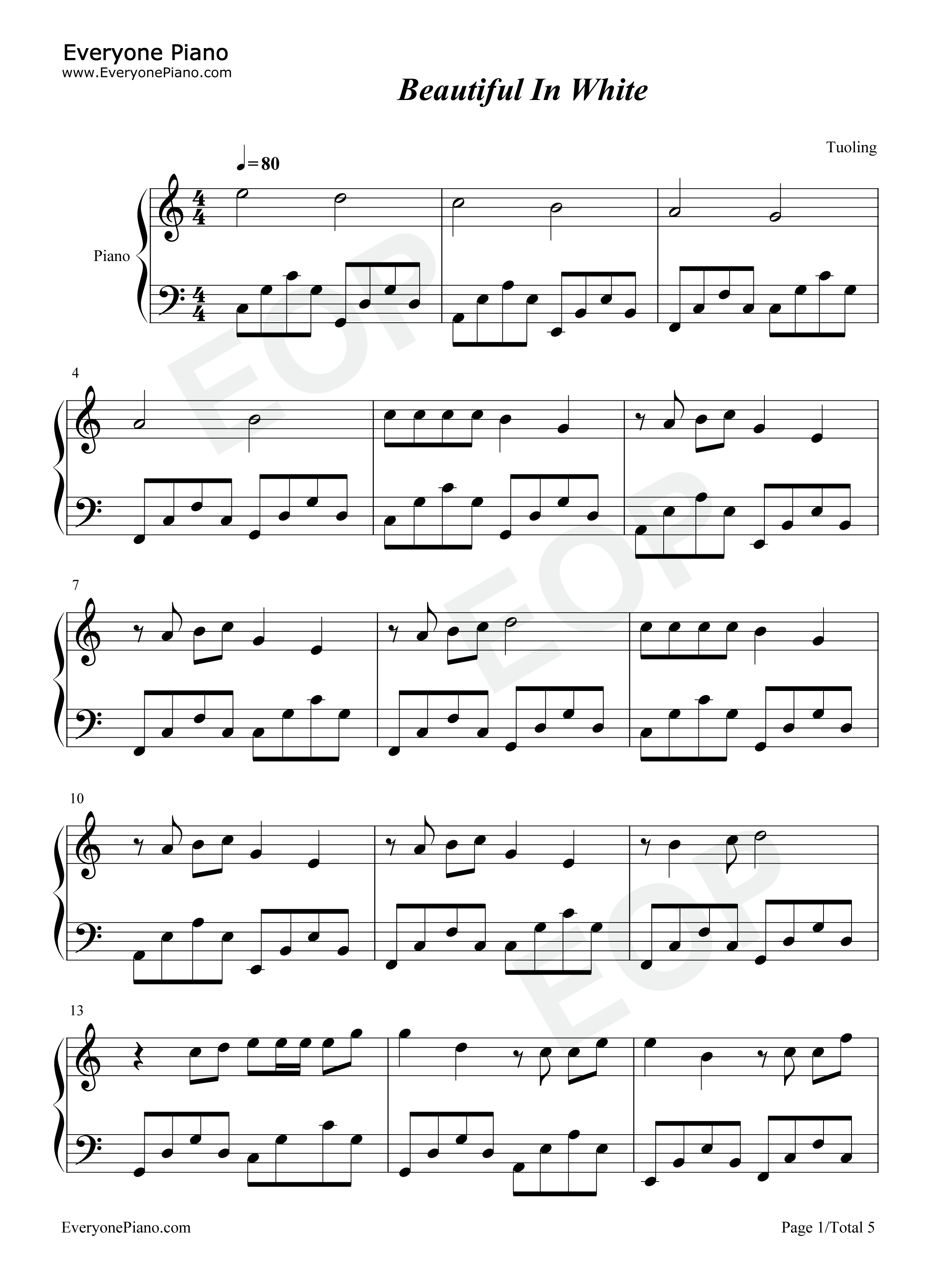 Beautiful in white westlife stave preview 1 free piano sheet listen now print sheet beautiful in white westlife stave preview 1 hexwebz Gallery
