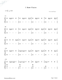 I Know Places-Taylor Swift Numbered Musical Notation Preview 1