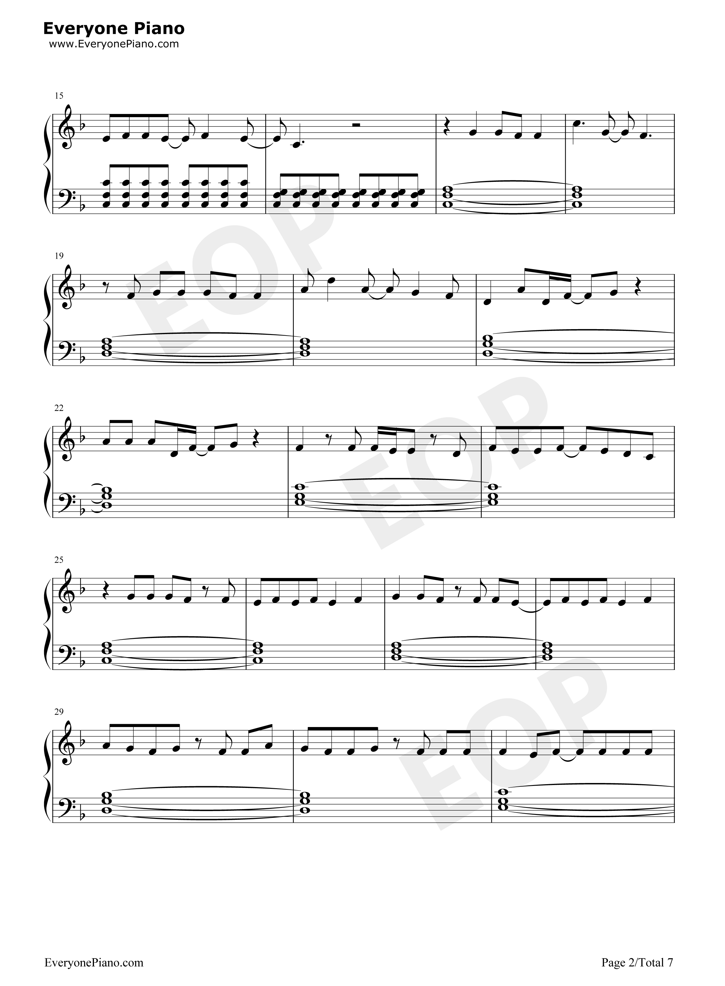 Last Christmas-Taylor Swift Stave Preview 2- Free Piano Sheet ...
