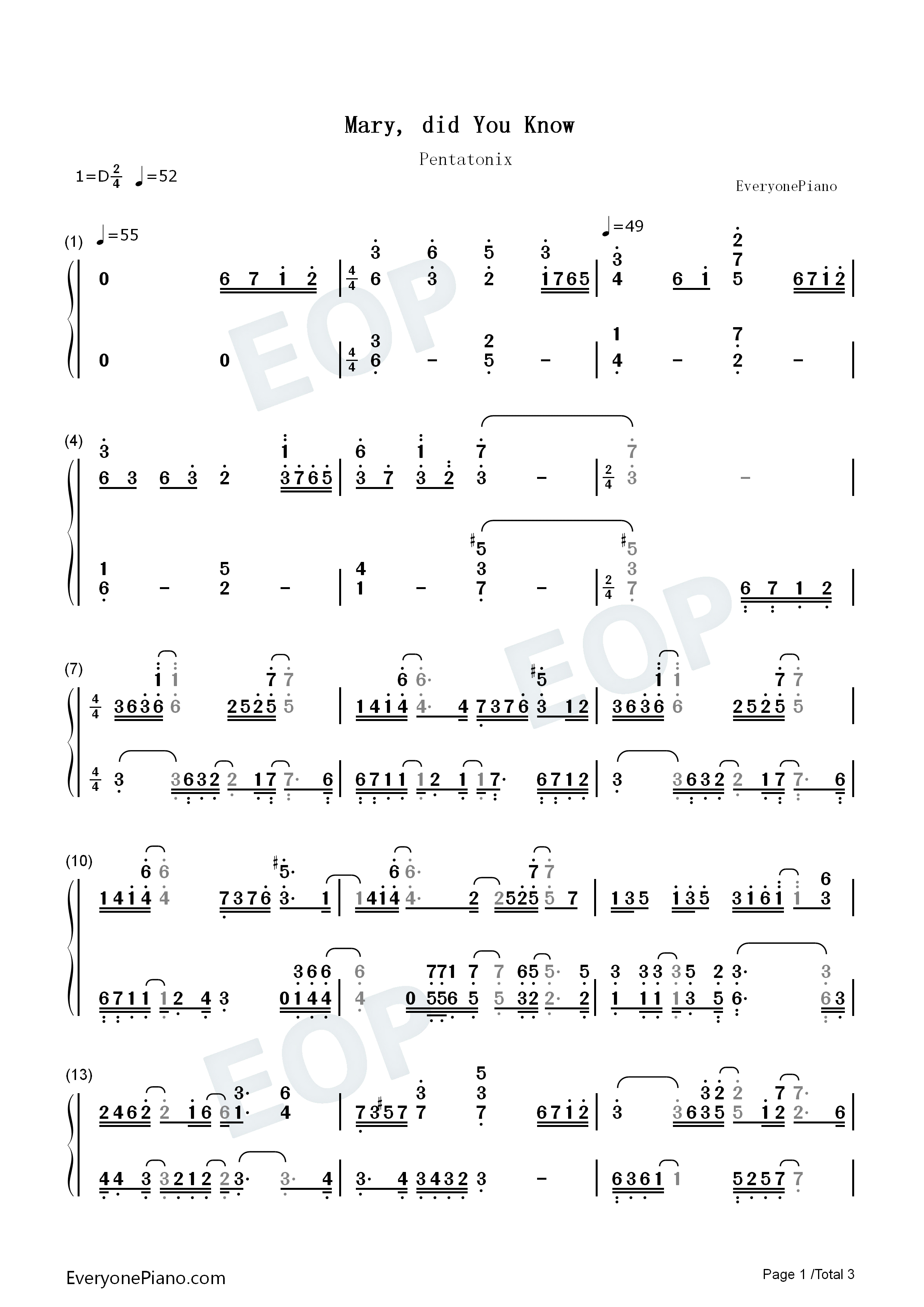 Mary Did You Know-Pentatonix Numbered Musical Notation Preview 1-Free Piano Sheet Music u0026 Piano ...