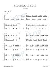 Dream Wedding with Fingering Mark Numbered Musical Notation Preview 1