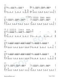 Dream Wedding with Fingering Mark Numbered Musical Notation Preview 2
