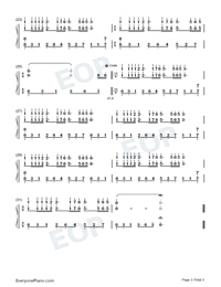 Dream Wedding with Fingering Mark Numbered Musical Notation Preview 3