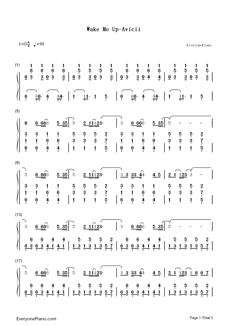 Wake me up avicii numbered musical notation preview 1 free piano listen now print sheet wake me up avicii numbered musical notation preview 1 hexwebz Gallery