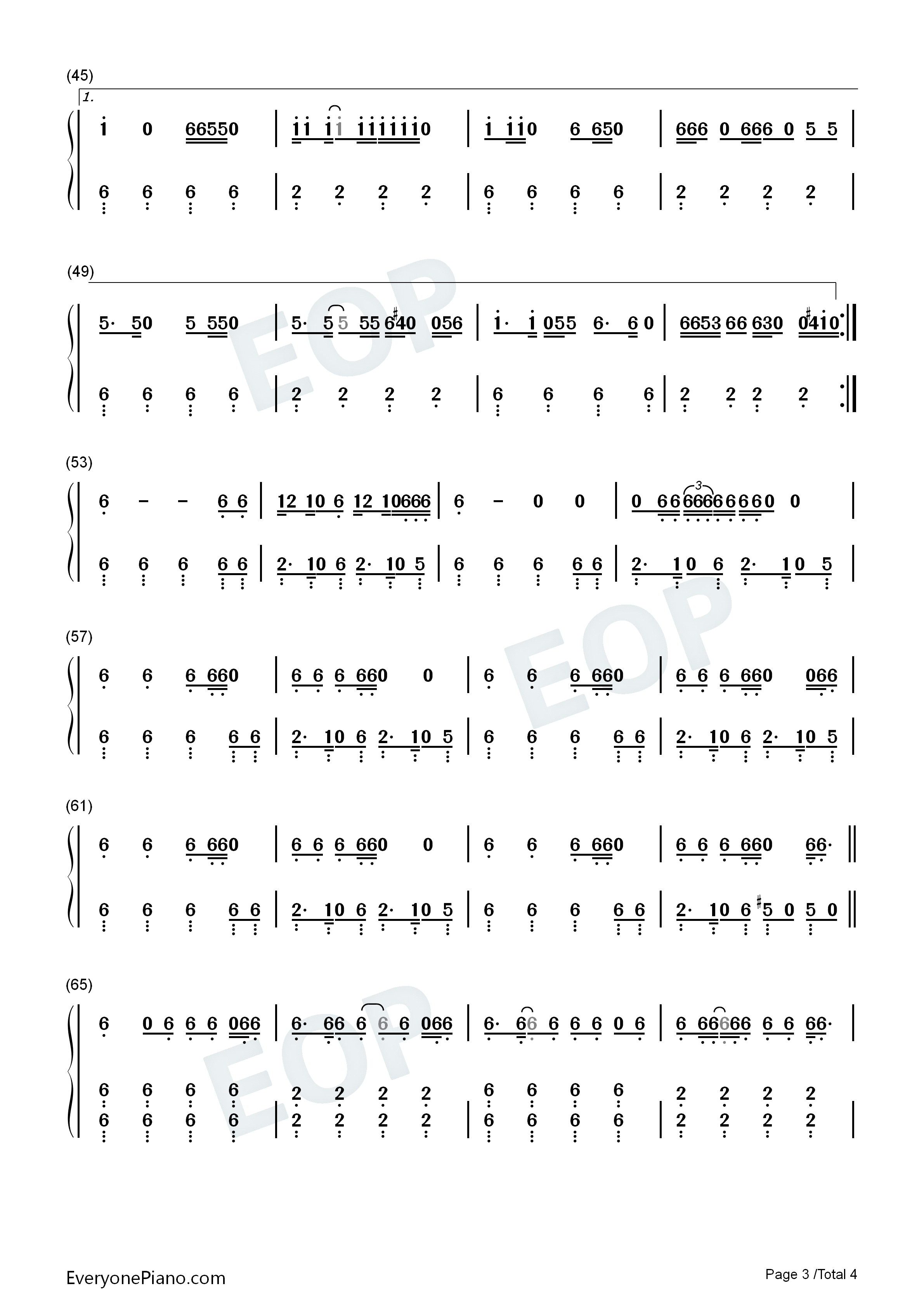 Uptown Funk-Mark Ronson and Bruno Mars Numbered Musical Notation Preview 3-Free Piano Sheet ...