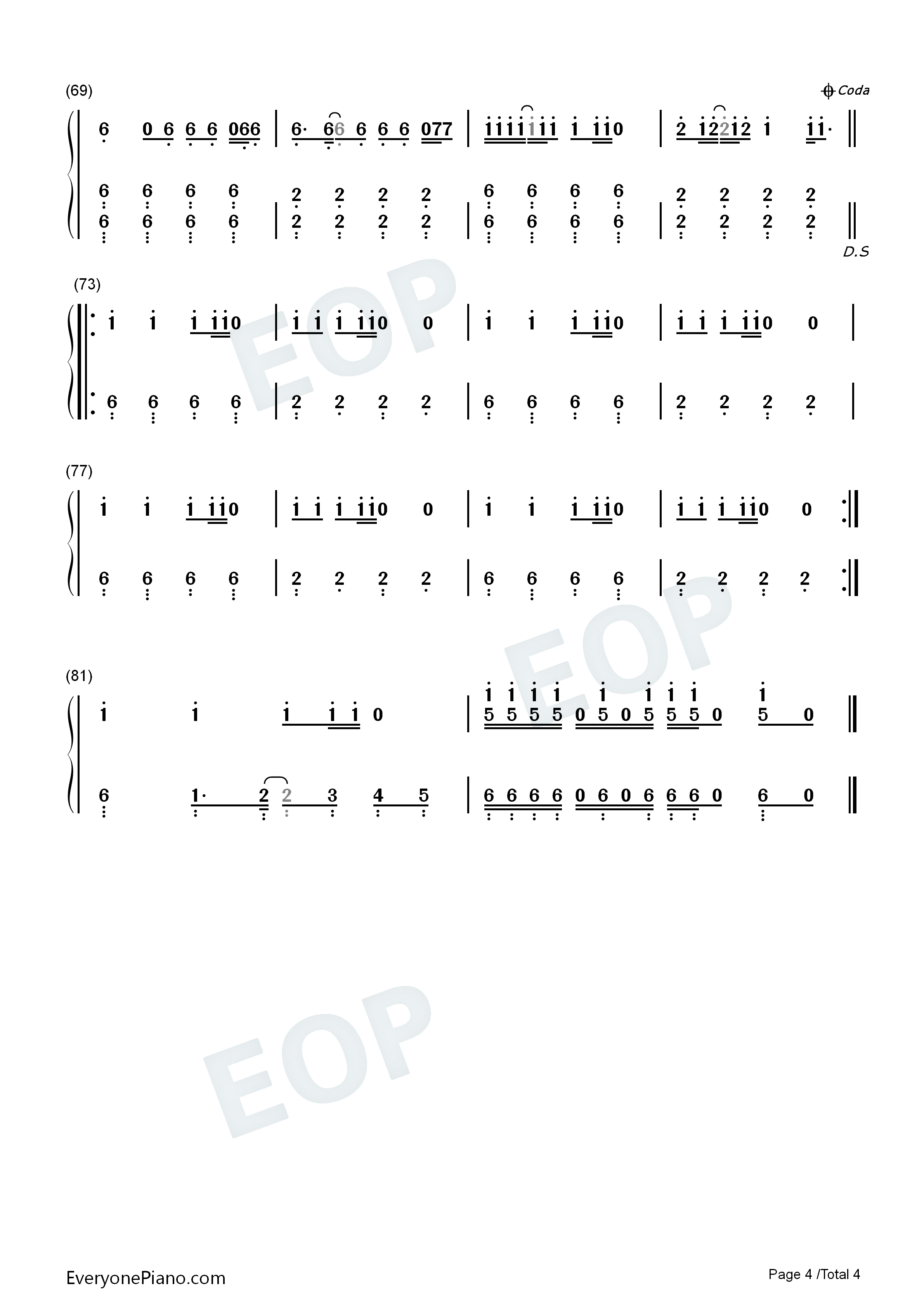 Uptown Funk-Mark Ronson and Bruno Mars Numbered Musical Notation Preview 4