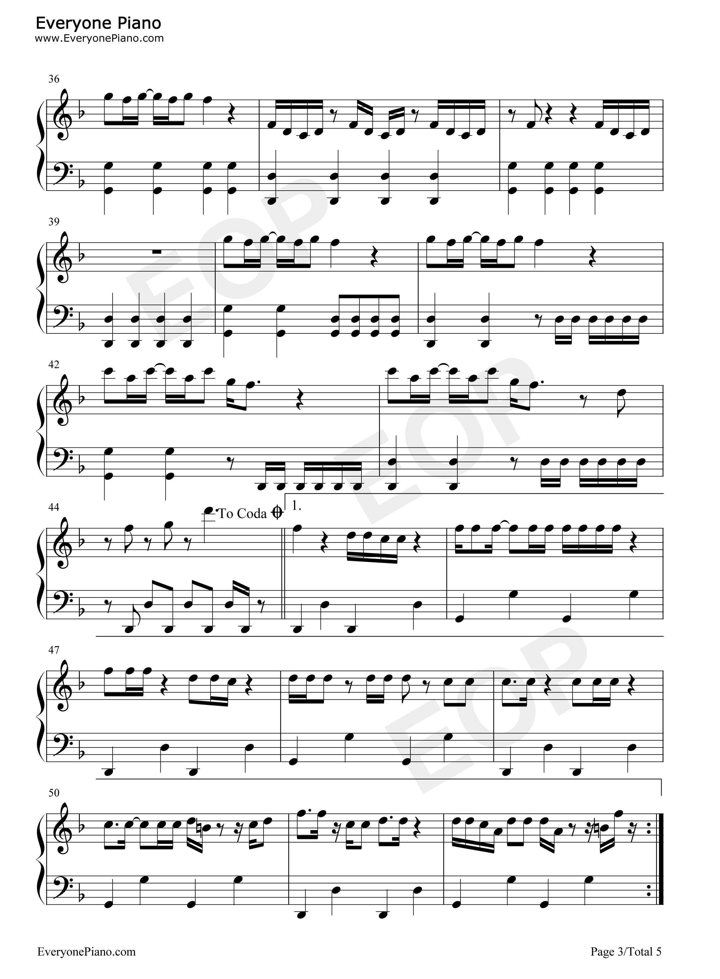 Uptown Funk Piano Sheet