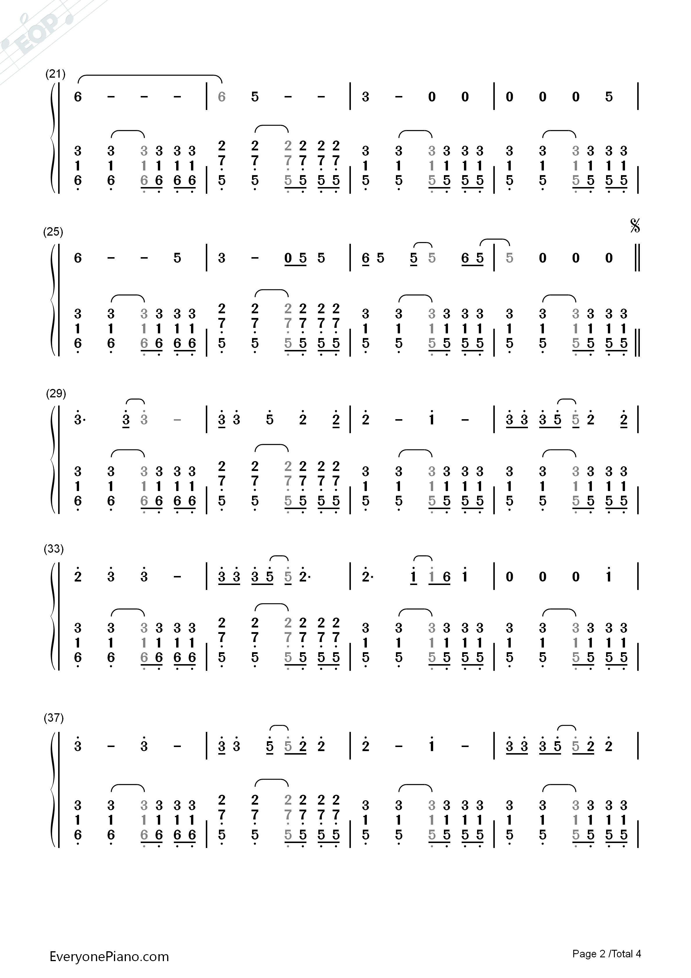 Riptide-Vance Joy Numbered Musical Notation Preview 2-Free Piano Sheet Music u0026 Piano Chords
